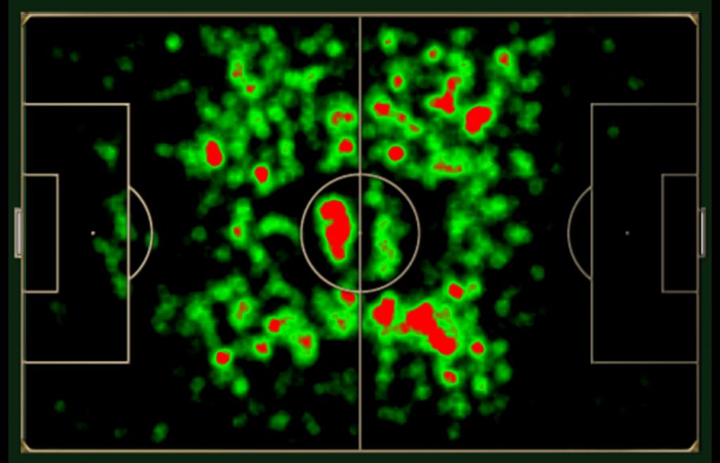 Mapa de movimentação de Kanté na Premier League 2015/16