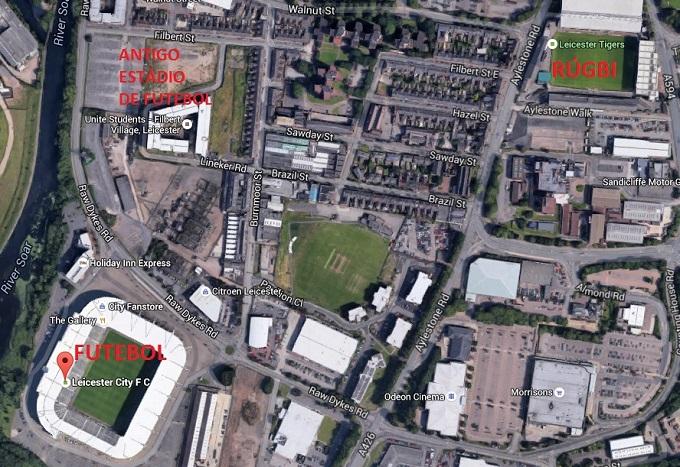 Estádios de rúgbi e futebol próximos, assim como era o Filbert Street, fechado em 2002