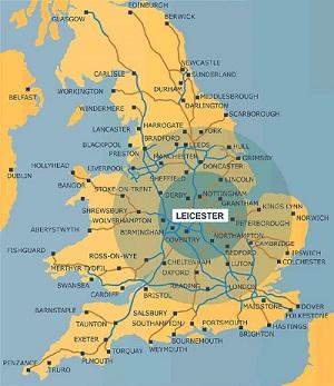 Leicester, cidade no centro da Inglaterra