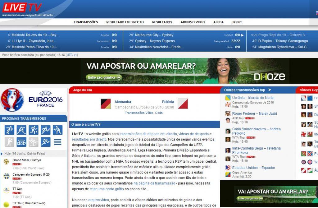 Em quarto lugar dos sites para ver jogos de futebol ao vivo grátis está o  Live TV. O site é em Português de Portugal 361a0c685f49d