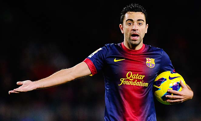 BARCELONA, SPAIN - JANUARY 27:  Xavi Hernandez of FC Barcelona reacts during the La Liga match between FC Barcelona and CA Osasuna at Camp Nou on January 27, 2013 in Barcelona, Spain. FC Barcelona won 5-1.  (Photo by David Ramos/Getty Images)
