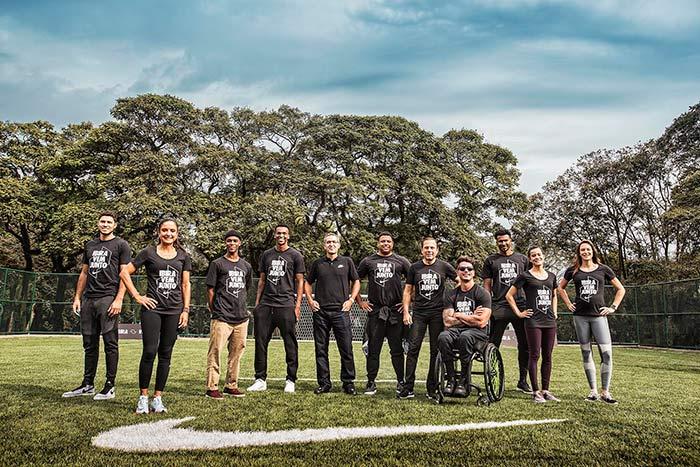 Participantes da parceria da Nike e Ibirapuera - ROnaldo Fenomêno, Jô