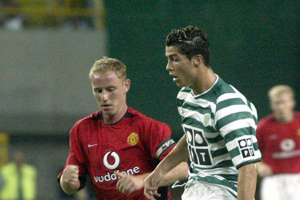 Cristiano Ronaldo no Sporting contra o Manchester United