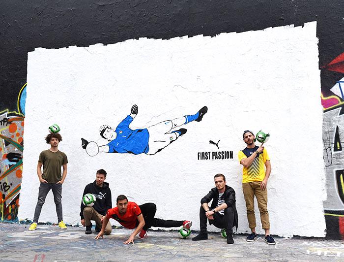 Mural em homenagem a Buffon com a nova camisa da Itália em Paris