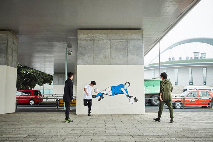Mural em homenagem a Buffon com a nova camisa da Itália em Tokyo