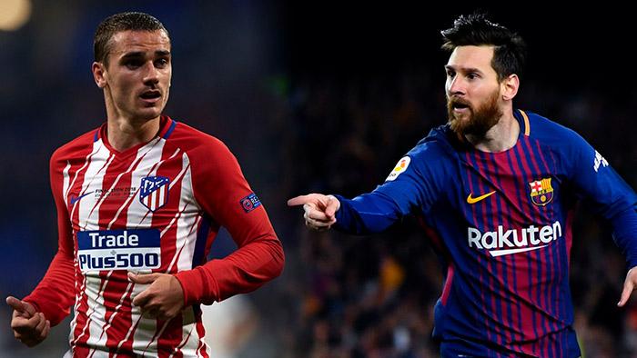 Lionel Messi Barcelona e Antoine Griezmann Atletico de Madrid