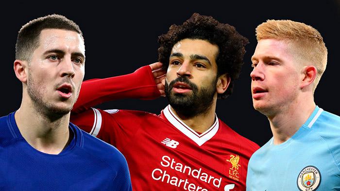 Eden Hazard Chelsea Mohamed Salah Liverpool e Kevin de Bruyne Manchester City